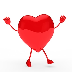 glossy red valentine heart wave and jump